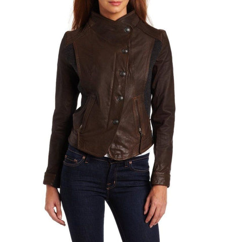 Women's brown leather jacket with embellishment