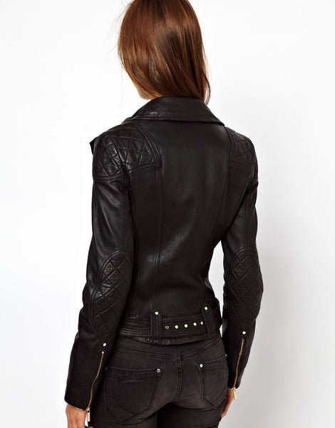women's fitted black motorcycle leather jacket