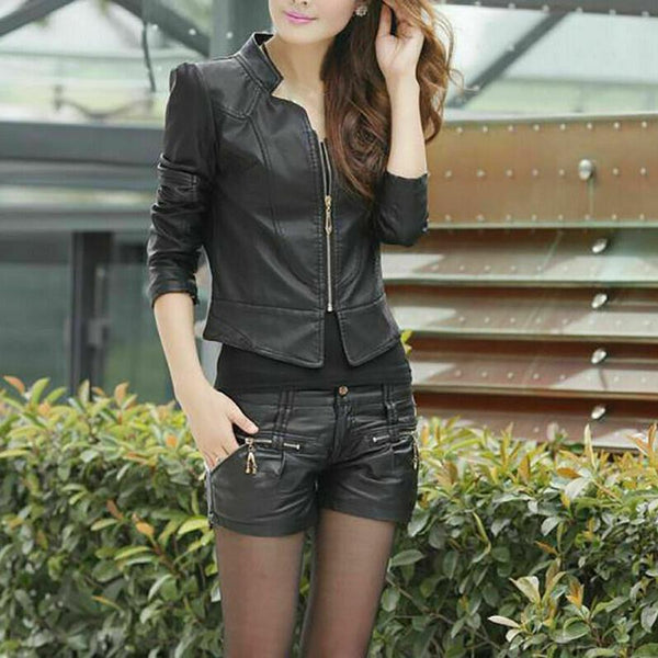NOORA Ladies Vintage Lambskin Leather Jacket Genuine Black Leather Biker Motorcycle Rider WA113