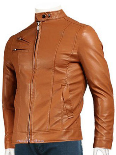 men's fitted caramel brown leather jacket - Noora International