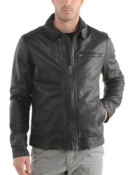 casual leather jacket with collar