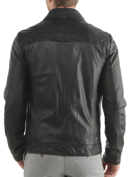 men's casual leather jacket with collar