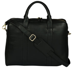 Women's black satchel leather bag