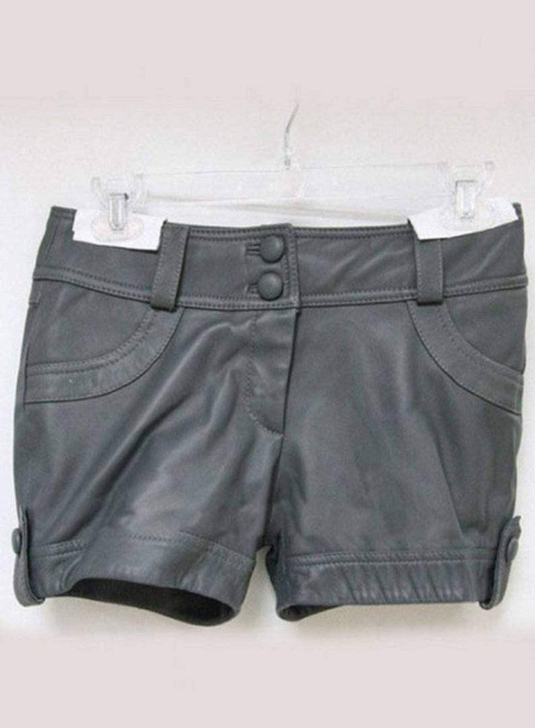 NOORA Womens,Girls & Lady Cargo Short Pant, Ladies Original Lambskin Leather Shorts Pant Casual Wear Shorts Grey Leather Shorts SB149