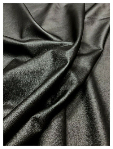 NOORA BLACK Shiny Genuine Sheep Leather Hide Quality Glossy Vintage Effect Lambskin leather hide for Sewing, upholstery Black Ink WA93