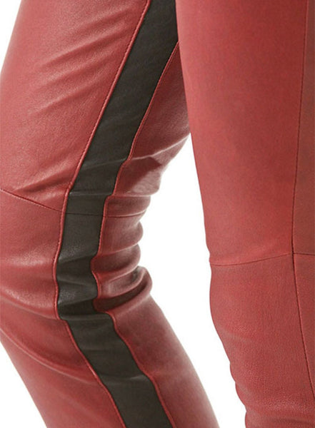 NOORA Womens & Girls Red With Black Strip HOT Lady Pant, Ladies Original Lambskin Leather Trouser Pant SB134