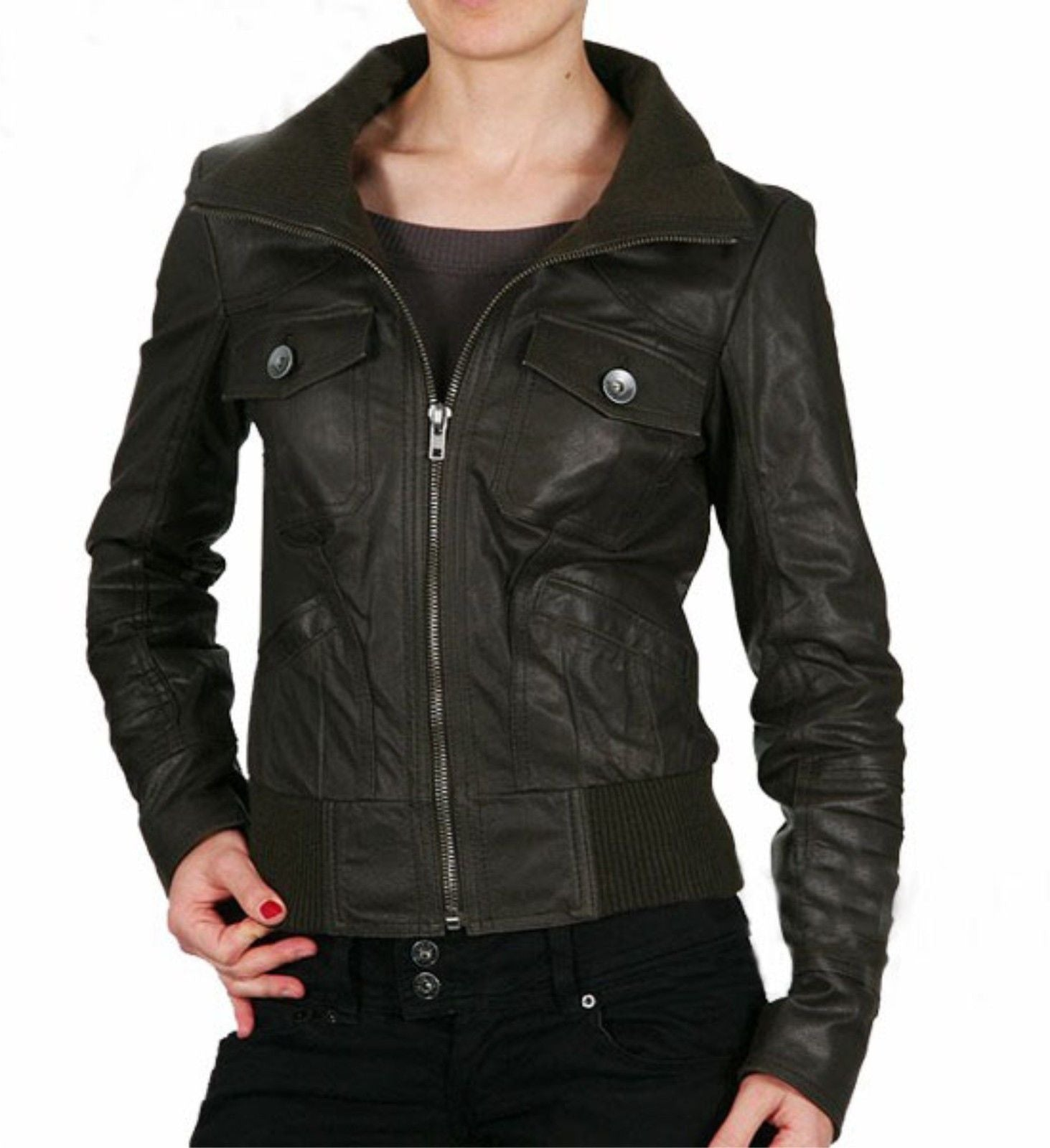 Women's Khaki Leather Jacket
