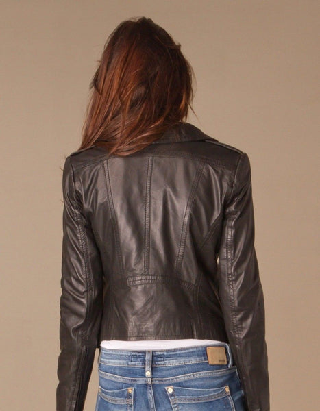 Women's Taupe Leather Jacket
