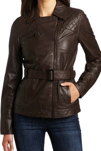 Women's Brown Leather Jacket with Belt