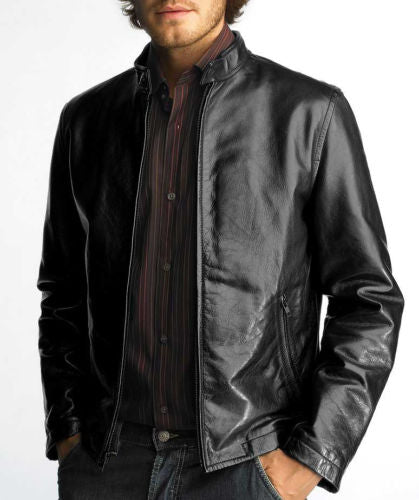 men's stylish leather jacket in black - Noora International