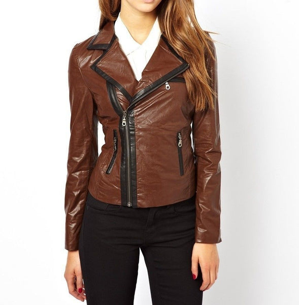Women's Light Brown Leather Jacket with Black Border