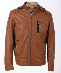 men's brown leather jacket with hoodie - Noora International