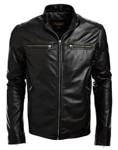 men's black biker jacket with front pockets - Noora International