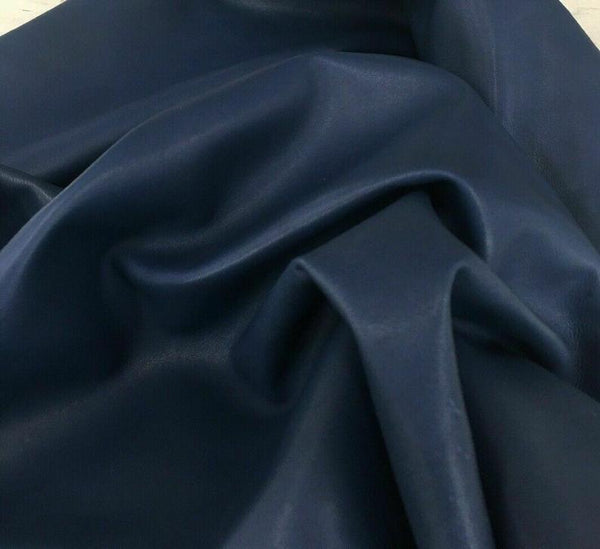 NOORA BLUE leather Genuine sheep Hide for sewing Dusty blue CENDRE Blue Real animal skin hide Natural Lambskin leather pieces 5 SqFt