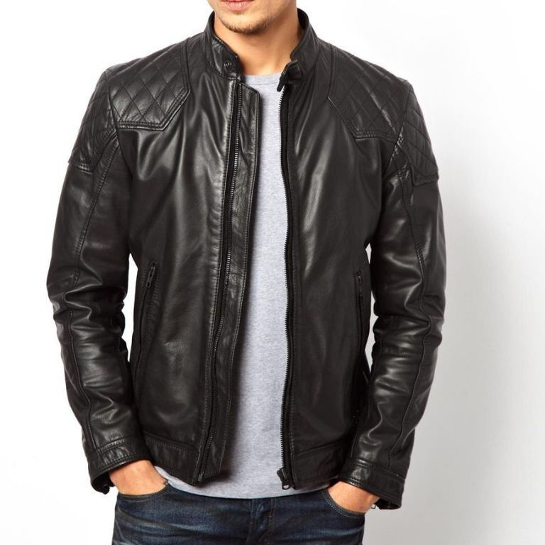 Men's black leather jacket with quilted design - Noora International