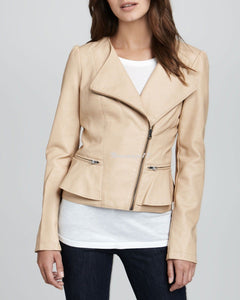 Women's Cream Leather Jacket