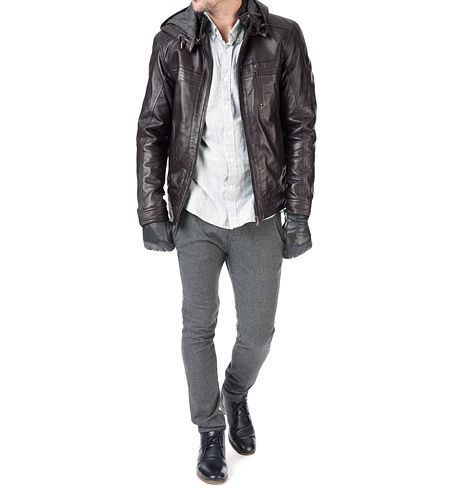 men's dark brown leather jacket with hoodie - Noora International
