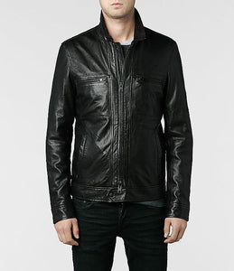 men's black stylish and fitted leather jacket - Noora International