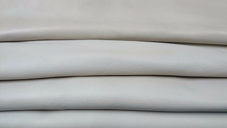 NOORA ICE WHITE offwhite Lambskin Lamb Sheep leather material for sewing hide skin skins hides Genuine Leather Off-White 5 Sq Ft SJ112