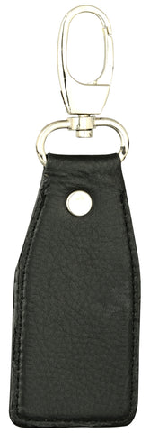 Solid black leather key chain