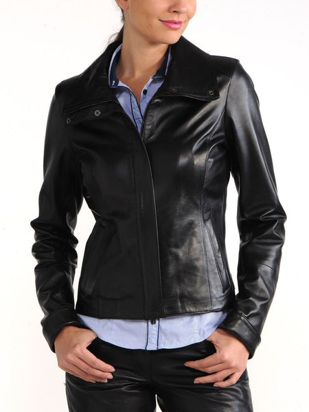 Women's Black fitted leather jacket
