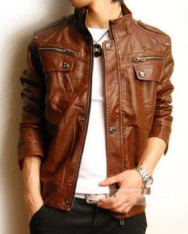 Noora Men's Brown Biker Jacket - Noora International