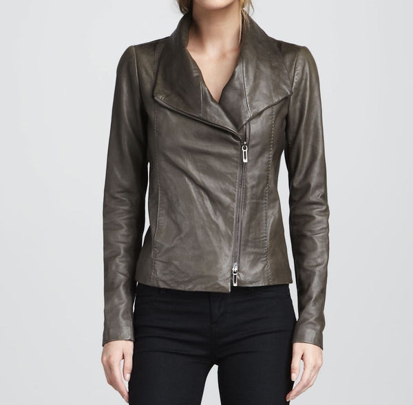 Women's Taupe coloured leather jacket