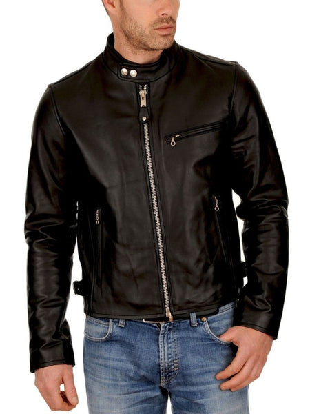 men's clean black biker jacket - Noora International