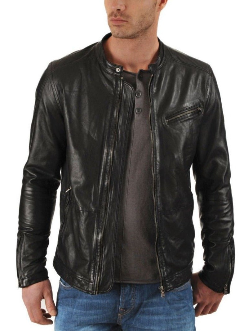 men's black biker jacket - Noora International
