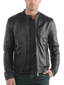 men's simple black biker leather jacket - Noora International