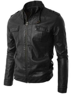 men's black biker jacket with belt collar - Noora International