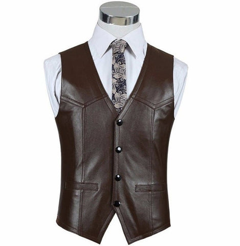 NOORA Men's Vest, Handmade Leather, Brown Genuine Leather Blazer, Men's Genuine Lambskin Leather Formal Vest, , New Custom Made Dress SB19
