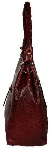 Women's burgundy colour hobo bag