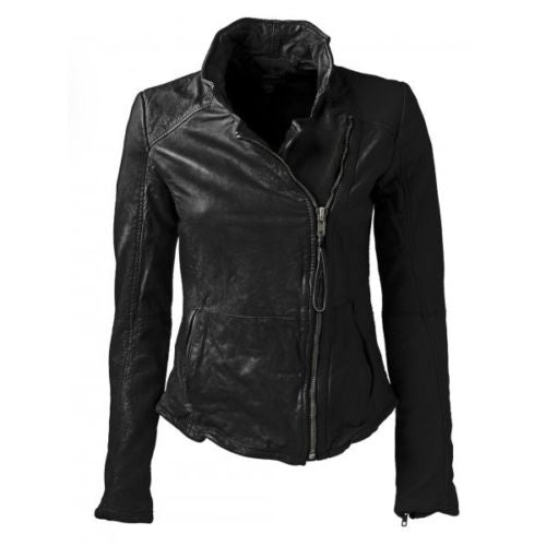 Women's Black High Neck and Fitted leather jacket