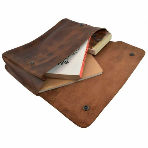 NOORA Choclate Brown Leather Document Holder,File Case, Document Portfolio,Office,13x9.5x5 Bag For Documents,Macbook leather Book case SJ405