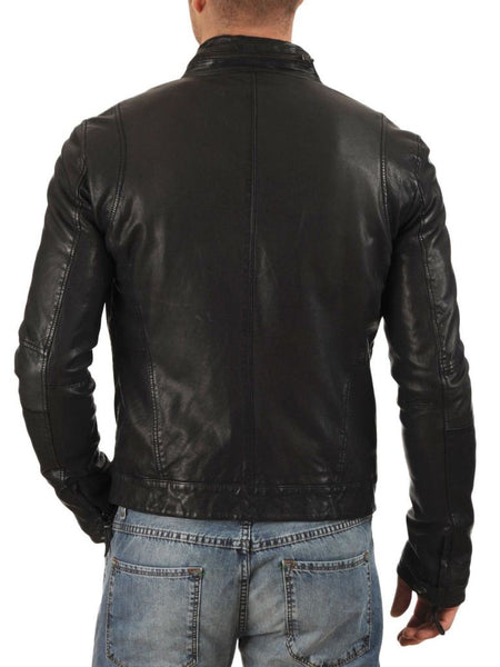 men's black leather jacket with zipper pockets - Noora International