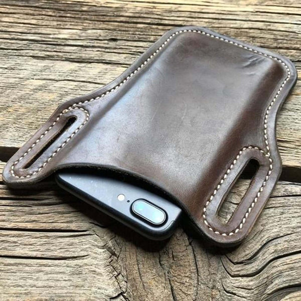 NOORA Leather Distressed Leather purse Size: 6.24 x 3.07 x 0.3 inch Retro Short Cell Phone Case Belt Bag Purse brown leather SP@64