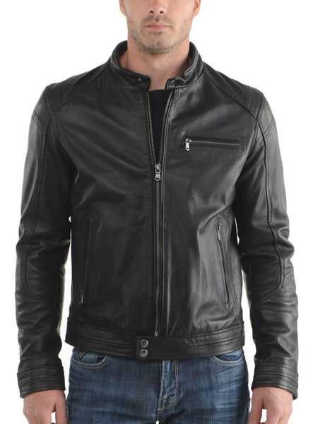men's black stylish biker jacket - Noora International