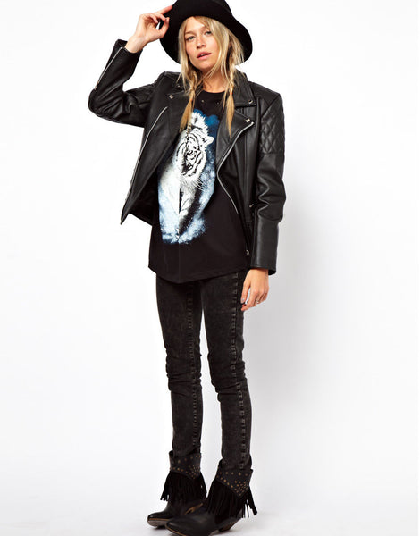 Women's Detailed Biker jacket