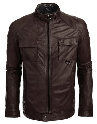 Men's brown biker jacket with front pockets - Noora International