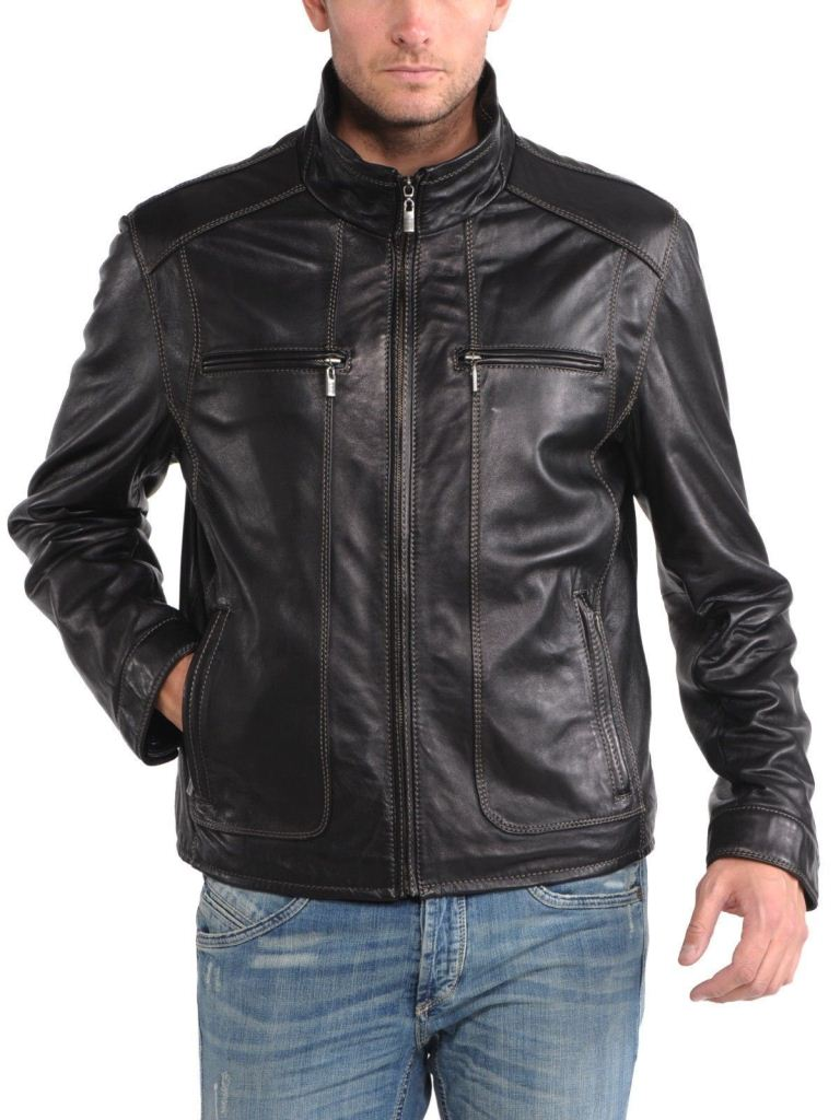 men's brown leather jacket with stitched design - Noora International
