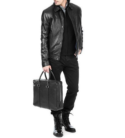 men's black button up leather jacket with simple collar - Noora International