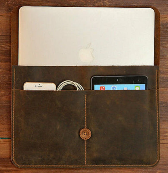 NOORA New Handmade personalized BROWN MACBOOK Leather File Folder Portfolio Button Tie Closure Customised business travel organizer case #Sj