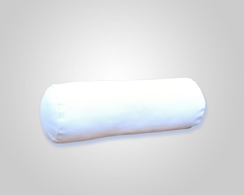 NOORA 100% REAL Genuine Lambskin Leather White Stain Resistant Bolster Neck Roll Pillow Cover,Zippered Pillow Cover Made in India RS33