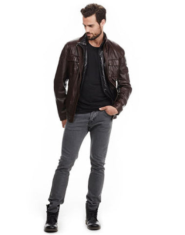 men's chocolate brown leather jacket with front pockets - Noora International