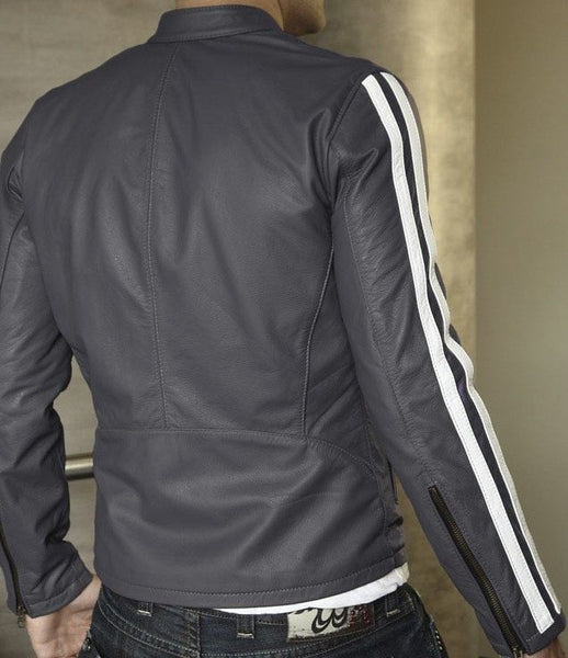 men's light grey leather jacket with white stripes on the sleeves