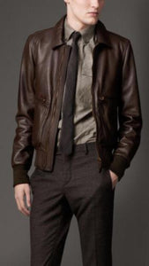 men's brown leather jacket with simple collar - Noora International