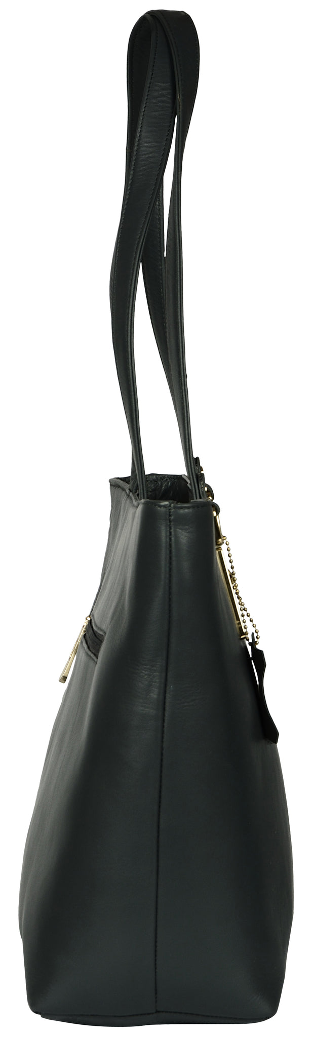 Women's solid black colour shopper bag