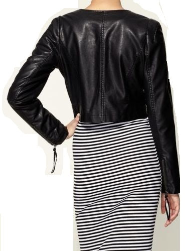 Women's Cropped Biker leather jacket