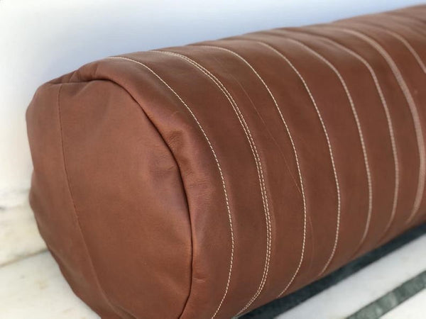 NOORA Real Geniune Lambskin Leather, Brown Round Shaped Bolster Pillow Cover,Anniversary Decor,Housewarming Decor,Home Decor Zipper Cover